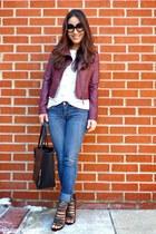 black tote Chicwish bag - blue bootcut Bongo jeans - maroon Aeropostale jacket