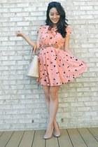 light orange pleated print OASAP dress - beige tote Louis Vuitton bag