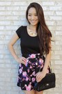 Black-deb-coat-black-vintage-bally-bag-hot-pink-floral-charlotte-russe-skirt