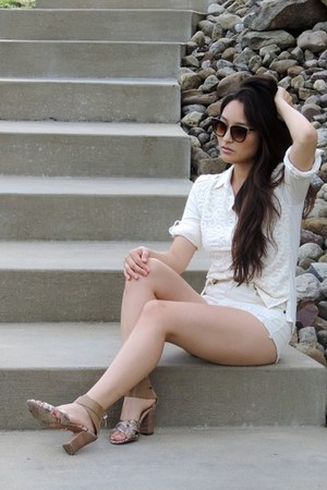 ivory Forever 21 shorts - dark brown Freyrs sunglasses - ivory Grayson top