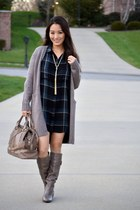 tan Guess boots - tan Burberry bag - tan long BCBG cardigan