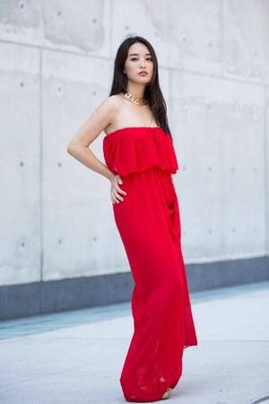 red strapless AmiClubWear dress - mustard cutout choker berricle necklace