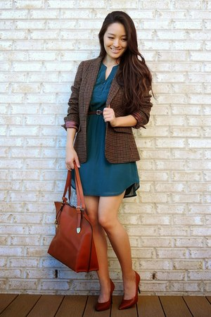 brown wool Johnston & Murphy blazer - teal shift Charlotte Russe dress
