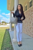 black peplum Ustrendy blazer - black polka-dot H&M shirt - black kate spade bag