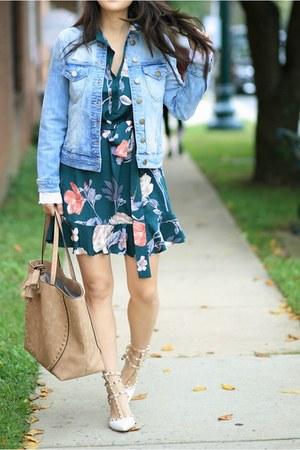 teal floral Stitch Fix dress - sky blue Stitch Fix jacket