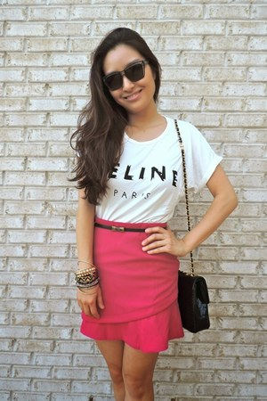 white celine gaphic PERSUNMALL t-shirt - black Bally bag