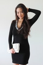 white studded Charlotte Russe bag - black deep-v Pink Basis dress