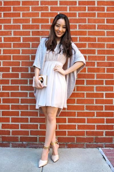 beige for elyse dress - light pink kate spade bag - tan ami clubwear heels