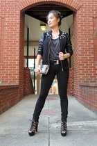 black varsity bomber SaVous jacket - black skinny vince jeans
