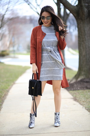 charcoal gray striped Topshop dress - tawny Joh Apparel coat