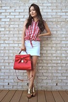 red Velvet Heart top - red bow embellished OASAP bag