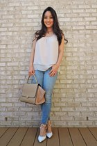 beige chiffon ruffled Pretty & Chic Boutique top - sky blue dittos jeans