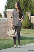 dark brown Velvet Heart top - tan Chicwish bag - tan Polette sunglasses