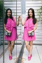 hot pink chiffon BCBG dress - hot pink bow kate spade sandals