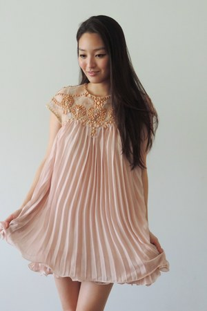 light pink pleated swing Elite 99 dress