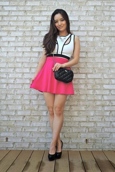 hot pink skater Charlotte Russe skirt - black Candies shoes