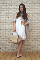 white crochet trim deb dress - beige vintage Proxy shoes