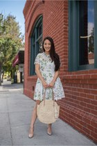 white floral mini Chicwish dress - tan straw tote Beachd bag