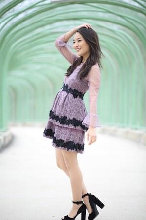 light purple lace mini asos dress - black Nine West heels
