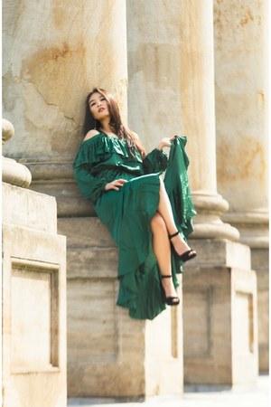 teal ruffle formal asos dress - black Nine West heels