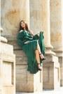 Teal-ruffle-formal-asos-dress-black-nine-west-heels