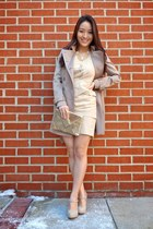 gold Winky Designs bag - neutral OASAP dress - tan trench Burberry coat