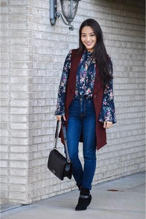 blue floral StitchFix blouse - navy Aeropostale jeans - crimson StitchFix vest