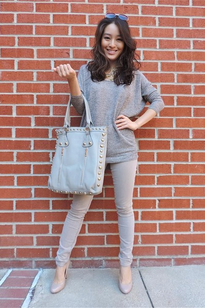 nude layered bead talbots necklace - camel studded tote Charlotte Russe bag