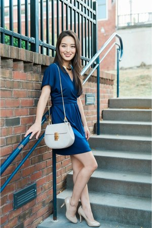 navy wrap asos dress - eggshell Chloe bag