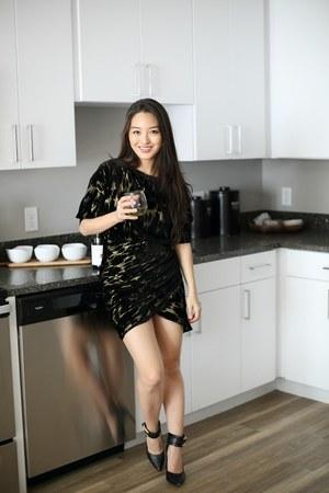 black Zara dress - black ankle strap Rachel Zoe pumps