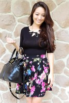 black floral skater Charlotte Russe skirt - black Badgley Mischka bag