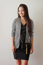black striped Tobi blazer - black faux leather Fruitful Concept dress