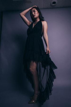 black hi low asos dress