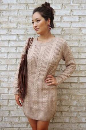 tan sweater Pink Basis dress - bronze fringe Charlotte Russe bag