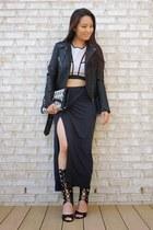 black eco-suede Laila Jayde skirt - black Forever 21 jacket