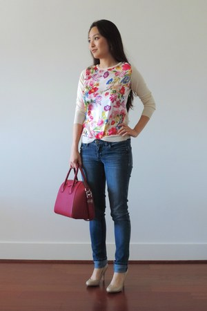 hot pink Givenchy bag - blue Bongo jeans