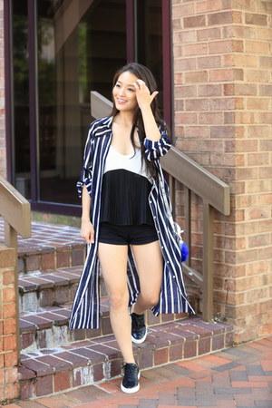 white pleated tank asos top - navy striped long Korean boutique shirt