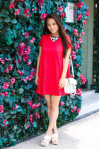 white platform coach shoes - red swing OASAP dress - white LucyMint bag