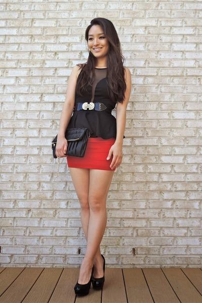 black deb top - black Charlotte Russe bag - red deb skirt