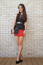 black deb top - black Charlotte Russe bag - red deb skirt