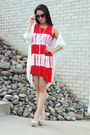 Red-ash-rose-dress-black-freyrs-sunglasses-white-almost-famous-cardigan