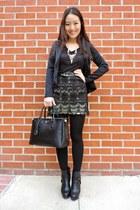 black asos boots - black peplum Ustrendy blazer - black saffiano Prada bag