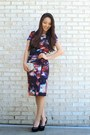 Magenta-printed-midi-nicole-miller-nyc-dress