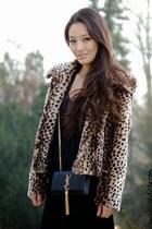 black bandage maxi AmiClubWear dress - dark brown leopard Alberto Makali coat