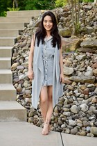 heather gray sleeveless banana republic vest - silver striped Velvet Heart dress
