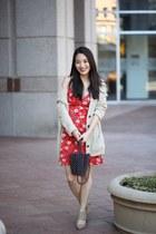 red floral StitchFix dress - eggshell chunky AmiClubWear cardigan