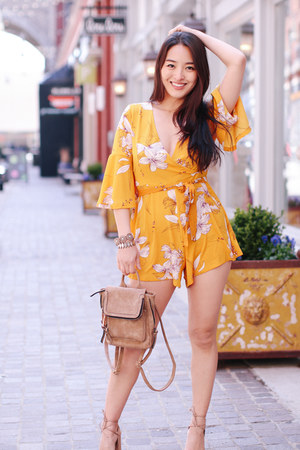 light orange floral Chicwish romper - tan Violet Ray bag