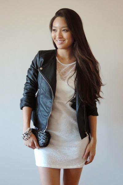 black moto Boohoo jacket - white OASAP dress