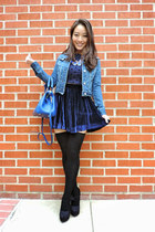 blue fitted jean Aeropostale jacket - black Charlotte Russe shoes