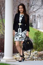 black LA Made blazer - white tiered banana republic dress